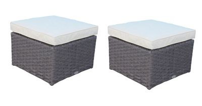 Bentley Garden Pair Of Rattan Footstools