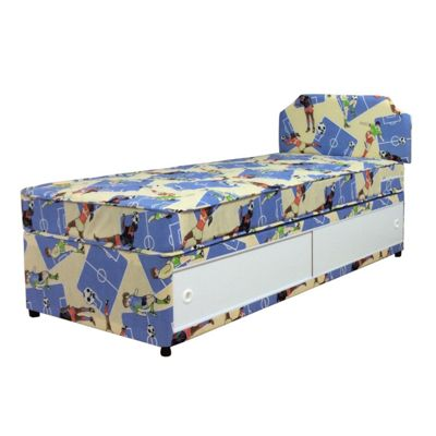 Comfy Living 3ft Single Boys Football Divan Set with Slanted Headboard & Slide Storage