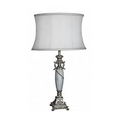 Ivory Mosaic Filigree Statement Lamp with and 18 inch Shade