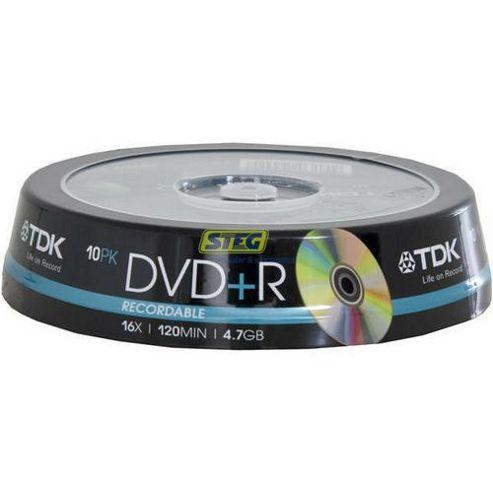 TDK DVD+R 4.7 GB 16x 10Pack Cake Box