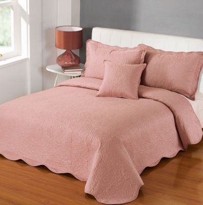 Highams Embroidered Bedspread Throw - 200 x 200cm, Pink