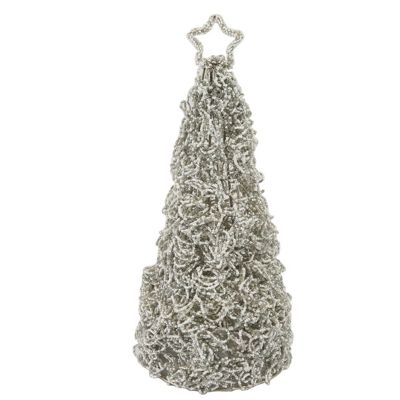 Glitz Grey And Cream Entwined Beaded Table Top Tree