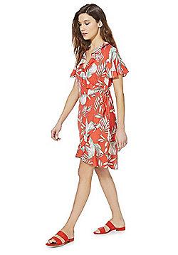Vero Moda Leaf Print Wrap Dress - Red
