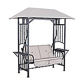 Outsunny Garden 2 Seater Canopy Swing Chair Porch Loveseat w/ and Side Drink Panel