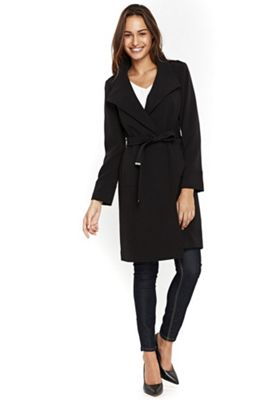 Wallis Wrap Belted Coat 12 Black