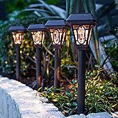Set of 4 Warm White LED Solar Garden Stake Lights