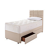 Relyon Single Divan Bed, Pocket Sprung with Natural Lambswool, 2 Drawer Storage