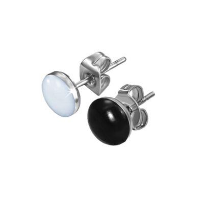 Urban Male Men's White & Black Pair Stainless Steel & Resin Stud Earrings