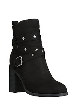 F&F Sensitive Sole Studded Faux Suede Ankle Boots - Black