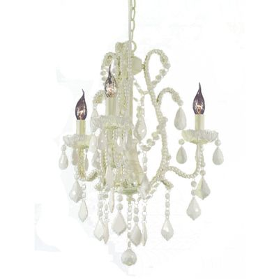 Marie Therese Cream Crack Chandelier, Milk Crystal - 3 Arm