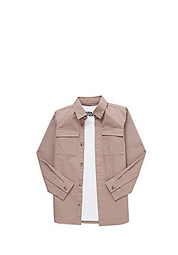 F&F Plain T-Shirt and Utility Shirt Set - Pink & White