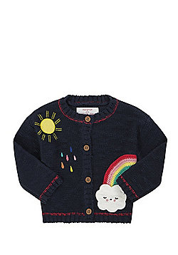 F&F Rainbow Applique Chunky Knit Cardigan - Navy