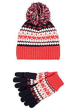 F&F Fair Isle Fleece Lined Hat and Gloves Set - Pink