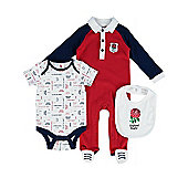 England RFU Rugby Baby 3 Piece Gift Set - Red, White & Blue
