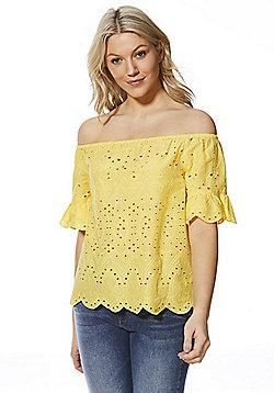 F&F Schiffli Lace Bardot Top - Yellow