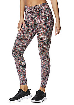 F&F Active Space Dye Quick Dry Leggings - Coral & Multi