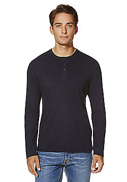 F&F Grandad Collar Long Sleeve T-Shirt - Navy
