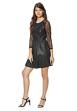 Only Lace Sleeve Faux Leather Dress - Black