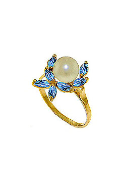 QP Jewellers Blue Topaz & Pearl Ivy Ring in 14K Gold