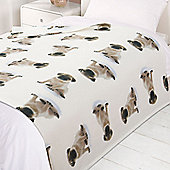 Dreamscene Soft Pug Dog Puppy Fleece Throw Over Bed Blanket White 120 x 150cm