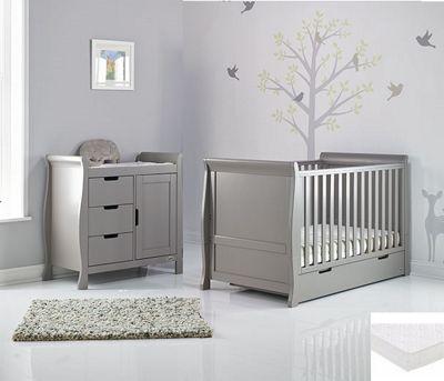 Obaby Stamford 2 Piece + Sprung Mattress Nursery Room Set - Taupe Grey