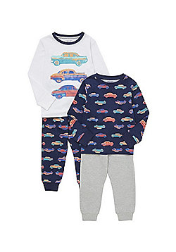 F&F 2 Pack of Car Print Pyjamas - Multi