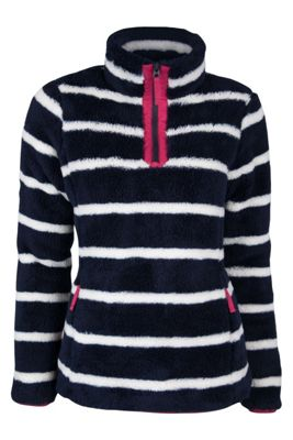 Nessy Stripe Warm Winter Super Soft Womens Fleece with Zip