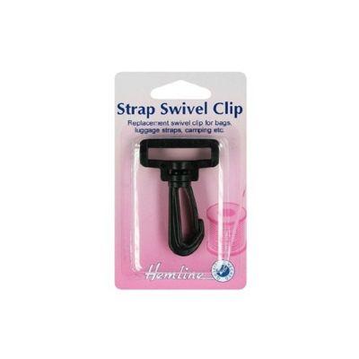 Hemline Strap Swivel Clip Black 25mm