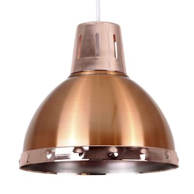Portishead Industrial Style Domed Ceiling Light Shade, Polished Copper