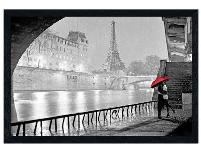 Black Wooden Framed Parisian Kiss Poster
