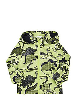 F&F Dinosaur Print Shower Resistant Hooded Mac - Lime green