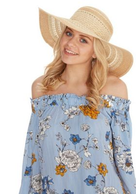 F&F Floppy Straw Hat Natural One Size