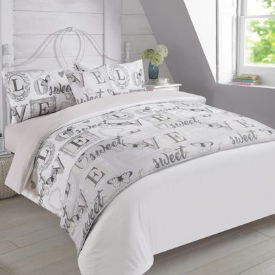 Dreamscene Complete Bed in a Bag Duvet Set - Love Sweet Love Grey, Single