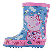 Girls Peppa Pig Kensey Wellies Blue Wellington Boots UK Sizes 4 -10 - Blue