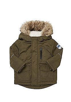 F&F Faux Fur Trim Padded Parka - Khaki