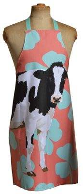 Leslie Gerry Friesian Cow Design Full Apron