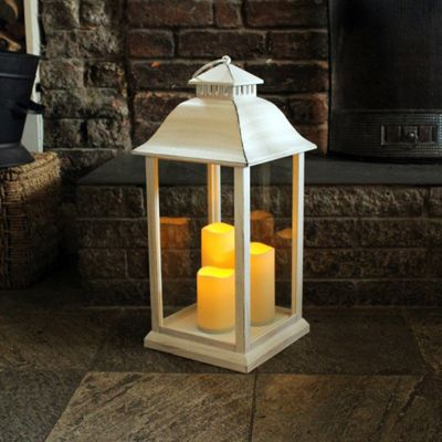 White Battery Operated Medium Candle Lantern Indoor/Outdoor Use