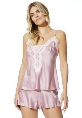 F&F Lace Trim Cami and Shorts Pyjama Set Dusky Pink 12-14