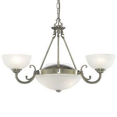 WINDSOR 5 LIGHT ANTIQUE BRASS FITTING-MARBLE GLASS