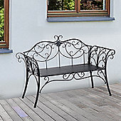 Outsunny 2 Seater Garden Bench Antique Backyard Decorative Cast Iron Backrest - Black
