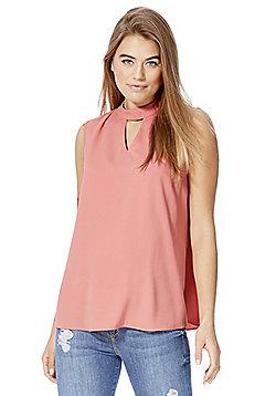 F&F Choker Neck Sleeveless Shell Top - Rose pink