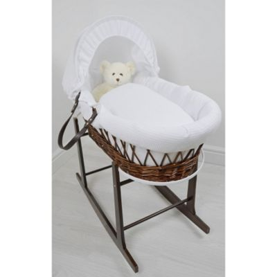 Cuddles Collection Dark Wicker Moses Basket (Waffle White)