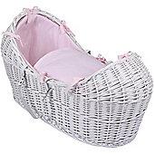Clair de Lune White Noah Pod Moses Basket (Cotton Candy Pink)