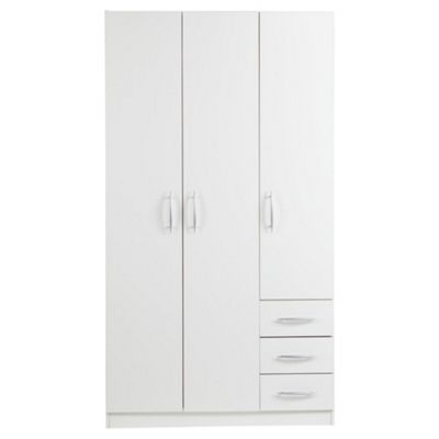 Ashton Triple Wardrobe with Drawers, White