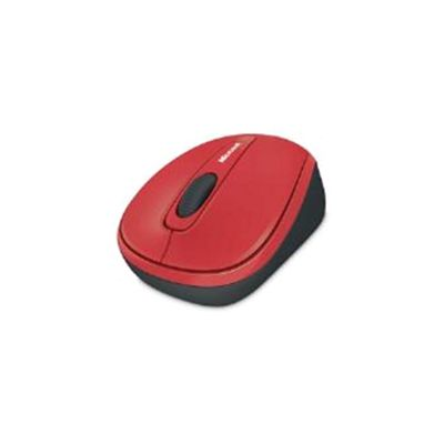 Microsoft Wireless Mobile 3500 Mouse - BlueTrack - Wireless - 3 Button(s) - Black, Red
