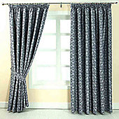 """Homescapes Blue Jacquard Curtain Vintage Floral Design Fully Lined - 66"""" X 90"""" Drop"""