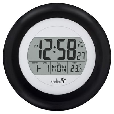 Circus Black Radio Controlled MSF signal Wall Mounted Digital Clock