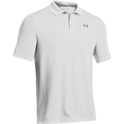 Under Armour Mens UA Performance Polo T-Shirt White/Steel XL