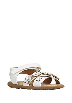F&F 3D Flower Cut-Out Sandals - White