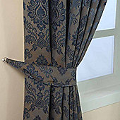 Homescapes Blue Jacquard Tie Back Pair Traditional Damask Design
